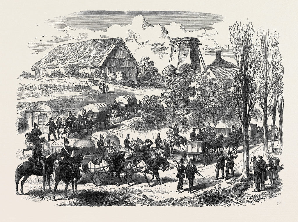 Detail of The Austro-Prussian War: Provender Waggons of the Prussian Army Passing the Saxon Frontier 1866 by Anonymous