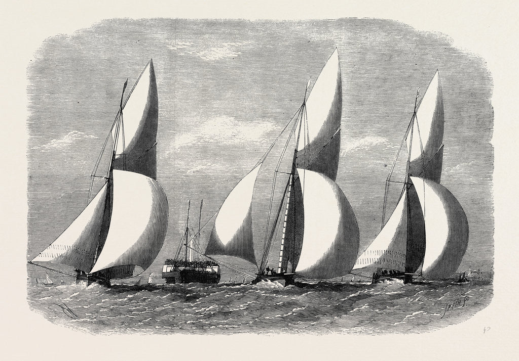 Detail of Royal London Yacht Club Cutter Match: The Niobe Sphinx and Vindex Off Coalhouse Point 1866 by Anonymous