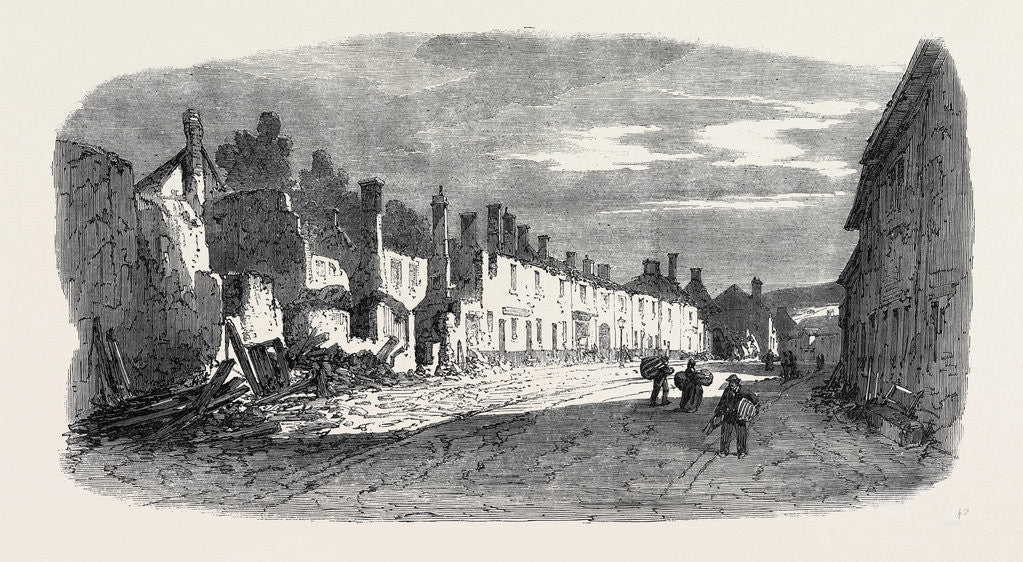 Detail of The Great Fire at Ottery St. Mary Devonshire: Ruins of Mill Street UK 1866 by Anonymous