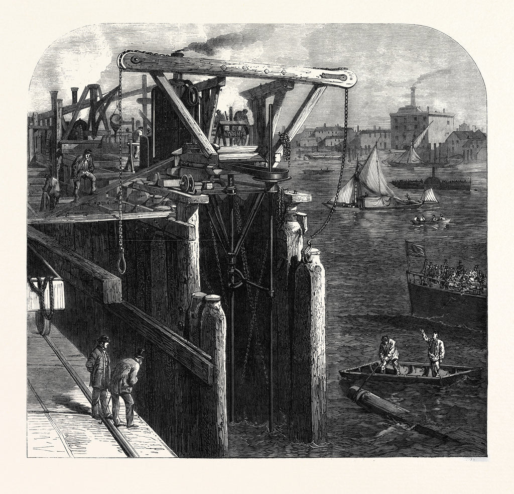 Detail of Progress of the Thames Embankment: Cutting the Piles which Form the Cofferdam UK 1866 by Anonymous