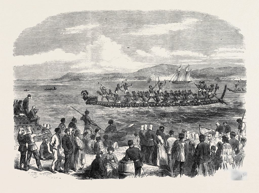 Native Games at Te Papa Camp Tauranga New Zealand: War Canoes Competing for Prizes 1866 by Anonymous
