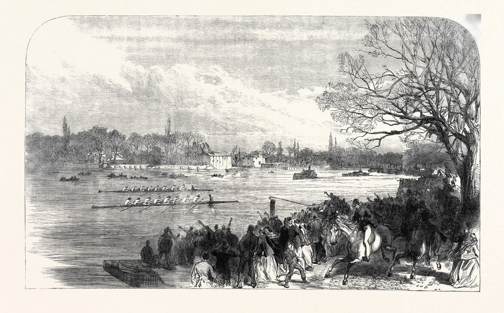 Detail of The Oxford and Cambridge University Boat Race: Passing the Crab Tree UK 1866 by Anonymous