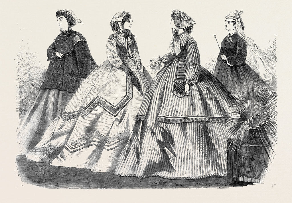 Detail of Paris Fashions for April France 1866 by Anonymous