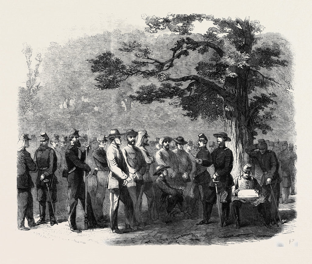 Detail of The Civil War in America: Confederate Prisoners Captured by United States' Pickets Between Fairfax and Manassas Junction Virginia by Anonymous