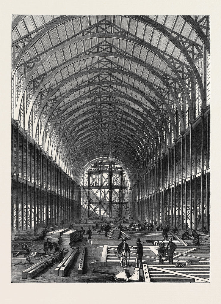 Detail of Progress of the International Exhibition Building: Portion of the Nave by Anonymous