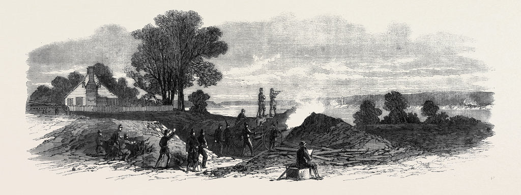 Detail of The Civil War in America: The Ten Pounder Gun Battery (Federalist) at Budd's Ferry by Anonymous