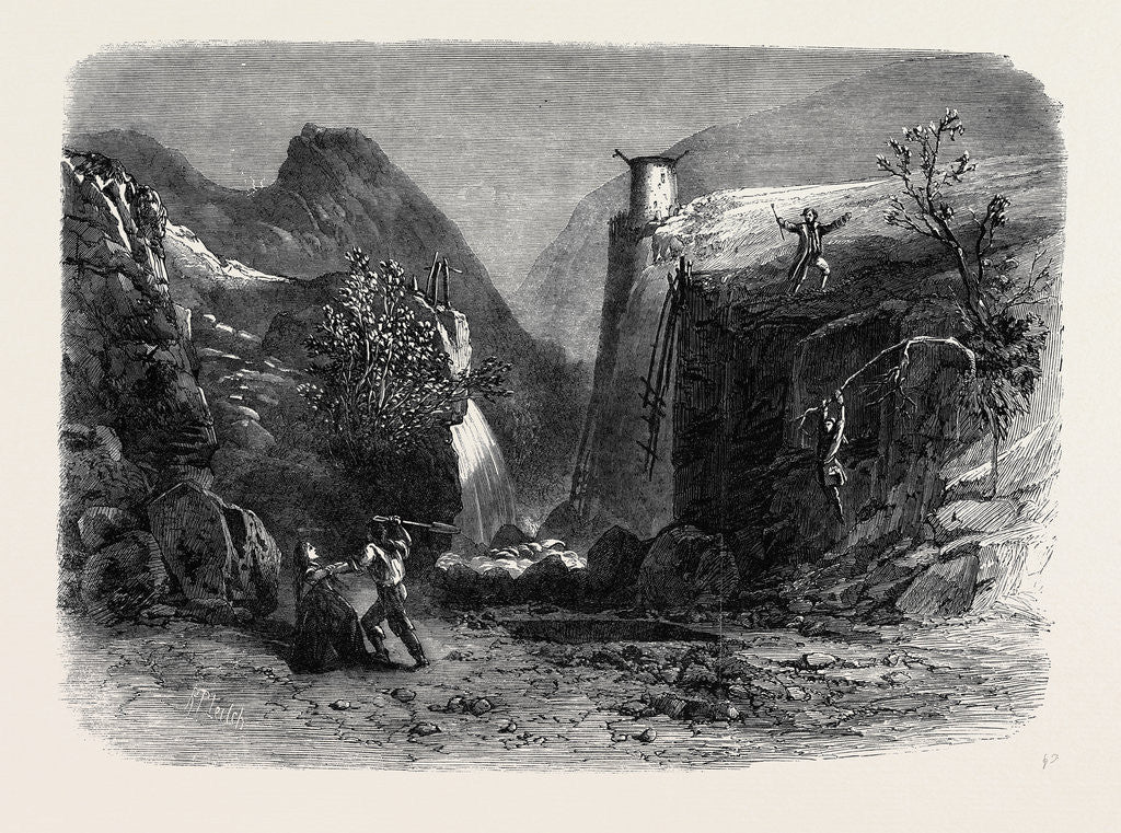 Detail of Scene from Mr. Falconer's New Drama Peep O'Day at the Lyceum Theatre: The Old Quarry in the Foil Dhuiv or Dark Valley by Anonymous