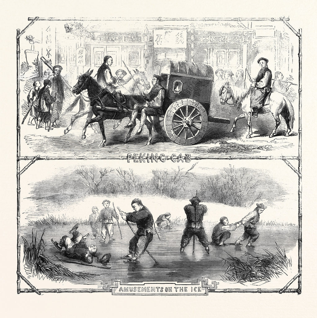 Detail of Sketches in China: Peking Cab Amusements on the Ice by Anonymous
