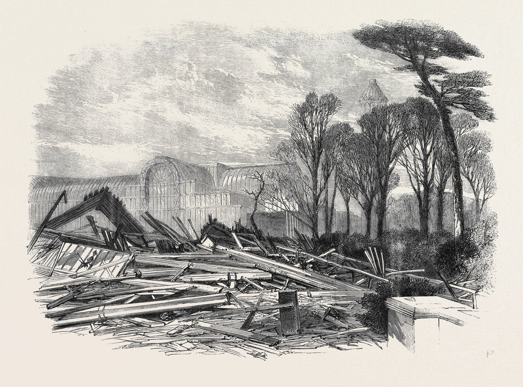 Detail of The Gale of Last Week Ruins of the North Wing of Sydenham Crystal Palace February 1861 by Anonymous