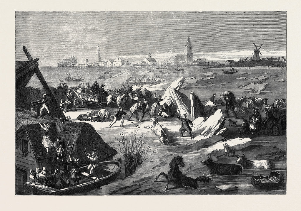 Detail of The Inundations in Holland the Bursting of the Dyke at Bommellerwaard 1861 by Anonymous