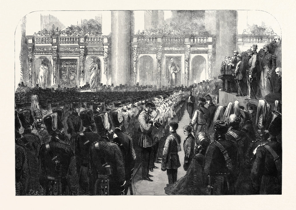 Detail of The Liverpool Press Guard (80th Lancashire Rifle Volunteers) Taking the Oaths in St. George's Hall by Anonymous