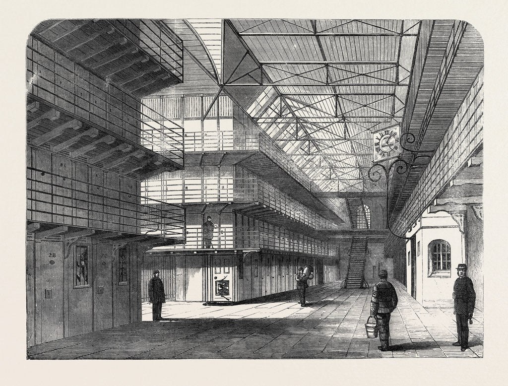 Detail of The Outbreak Among the Convicts at Chatham: Interior of St. Mary's Convict Prison 1861 by Anonymous