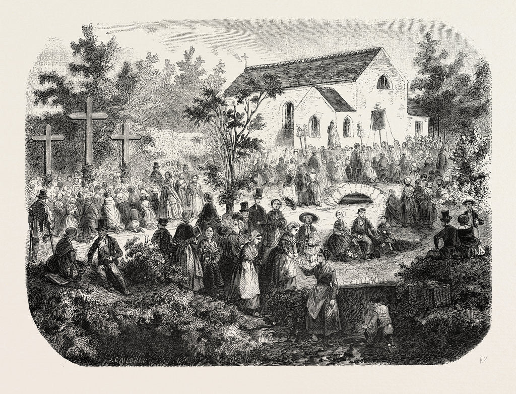 Detail of Fete of the Nativity of Our Lady: Pilgrimage to Our Lady of the Angels, Livry (Seine-Et-Oise), France, 1855 by Anonymous