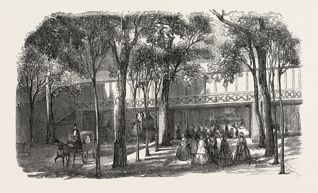 Expo 1855. Walkway of the Rotunda Annex, above the Cours-La-Reine. Paris, France, Exposition Universelle by Anonymous