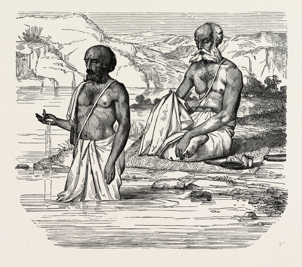 Detail of Brahmins Worshipping the Ganges, India by Anonymous