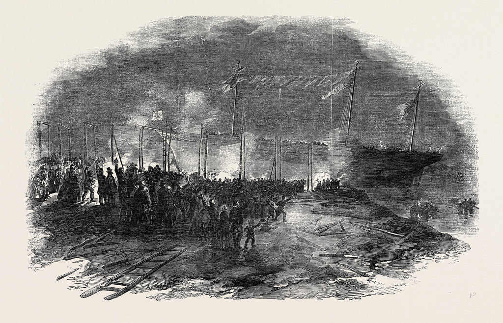 Detail of Torchlight Launch of the Iron Screw Steamer Azoff, in the Clyde by Anonymous