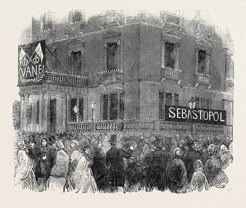 The Fall of Sebastopol, the French Embassy at Albert Gate, Illuminated by Anonymous