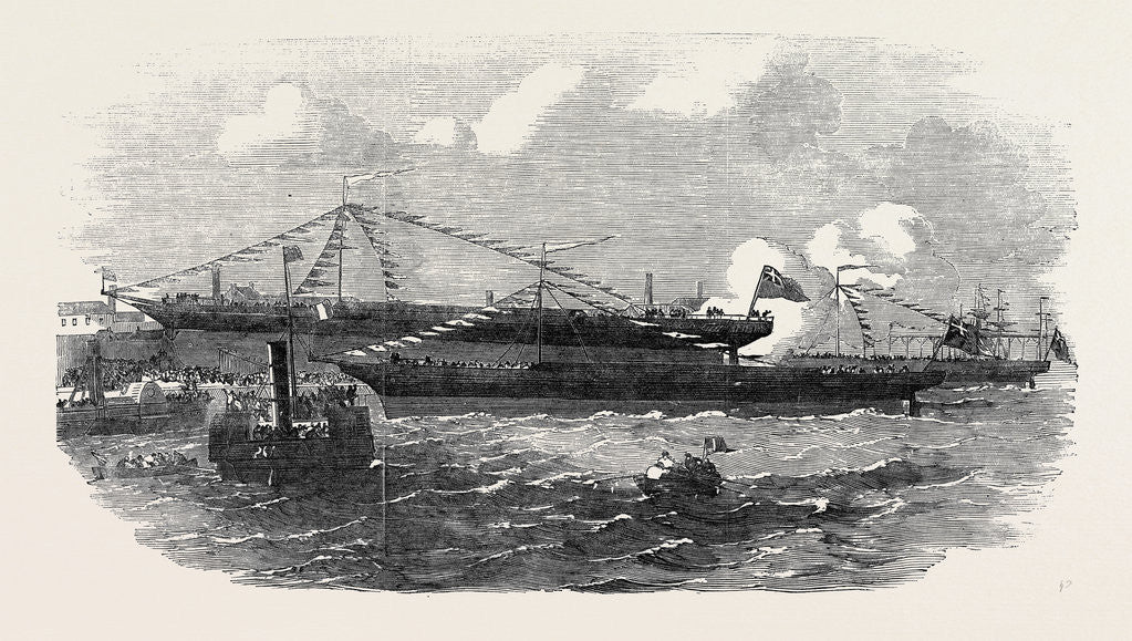 Detail of Launch of Three Iron Screw Steamers, at Jarrow by Anonymous