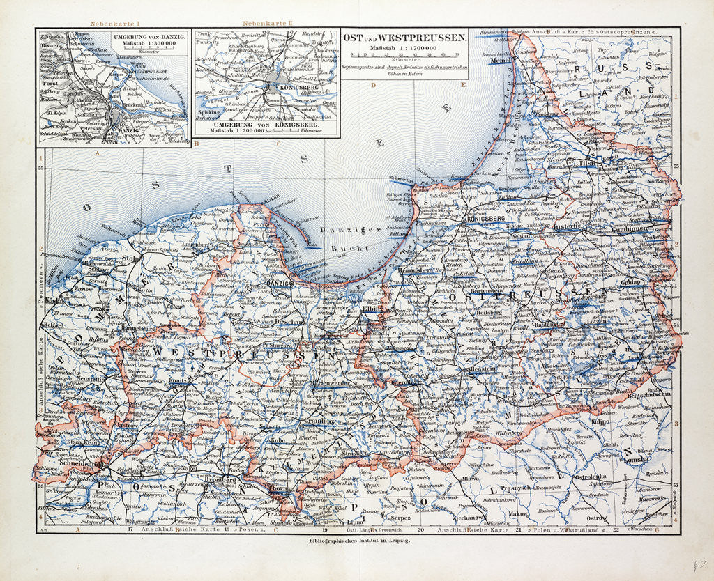 Detail of Map of East and West Prussia Königsberg (Kaliningrad Russia) and Danzig (Poland) 1899 by Anonymous