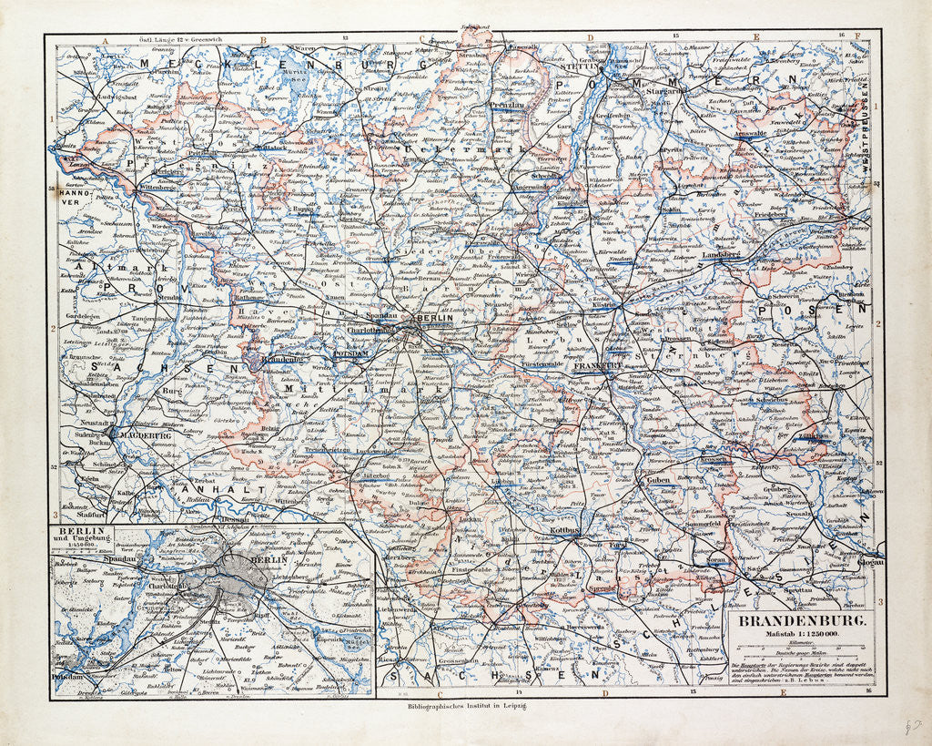 Detail of Map of Brandenburg Germany 1899 by Anonymous