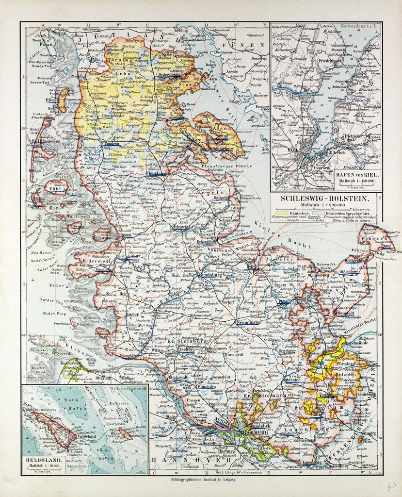 Detail of Map of Schleswig-Holstein Germany 1899 by Anonymous