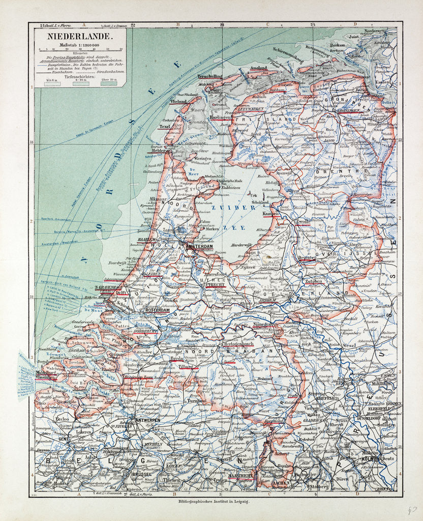 Detail of Map of the Netherlands 1899 by Anonymous