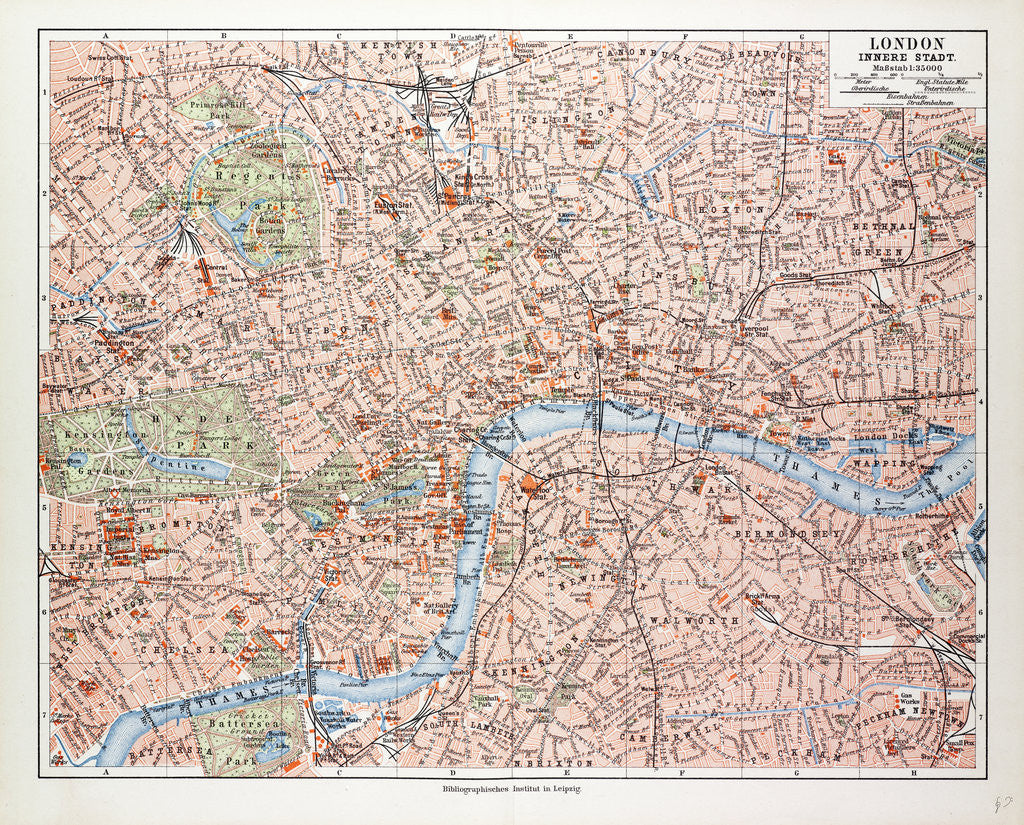 Centre London Map.Map Of The Centre Of London Great Britain 1899