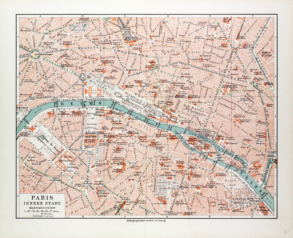 Detail of Map of the Centre of Paris France 1899 by Anonymous