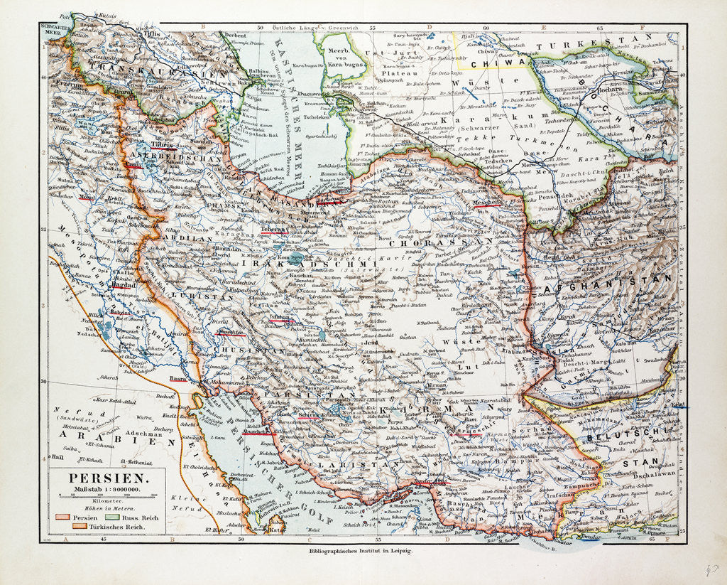 Detail of Map of Iran 1899 by Anonymous