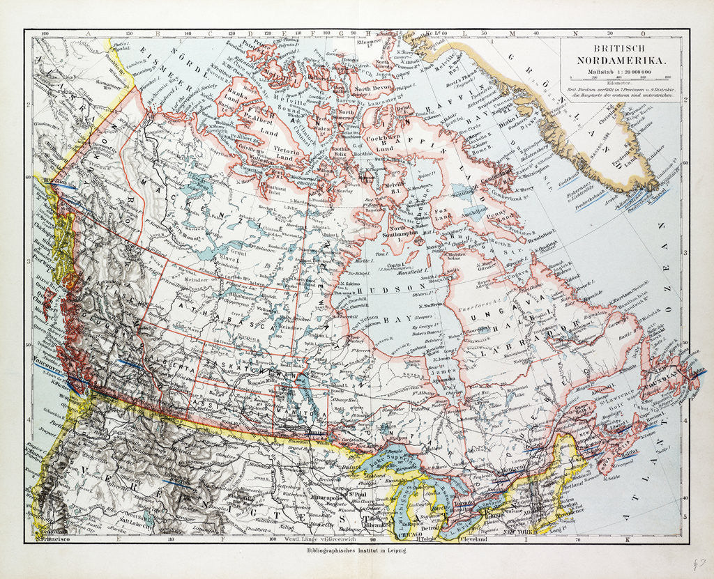 Detail of Map of Canada 1899 by Anonymous