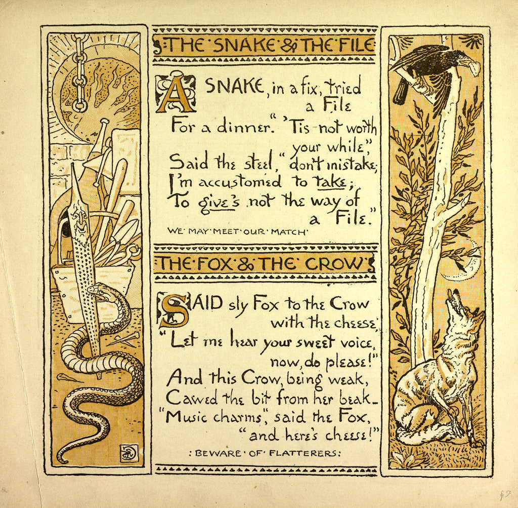 Detail of The Snake and the File the Fox and the Crow by Anonymous