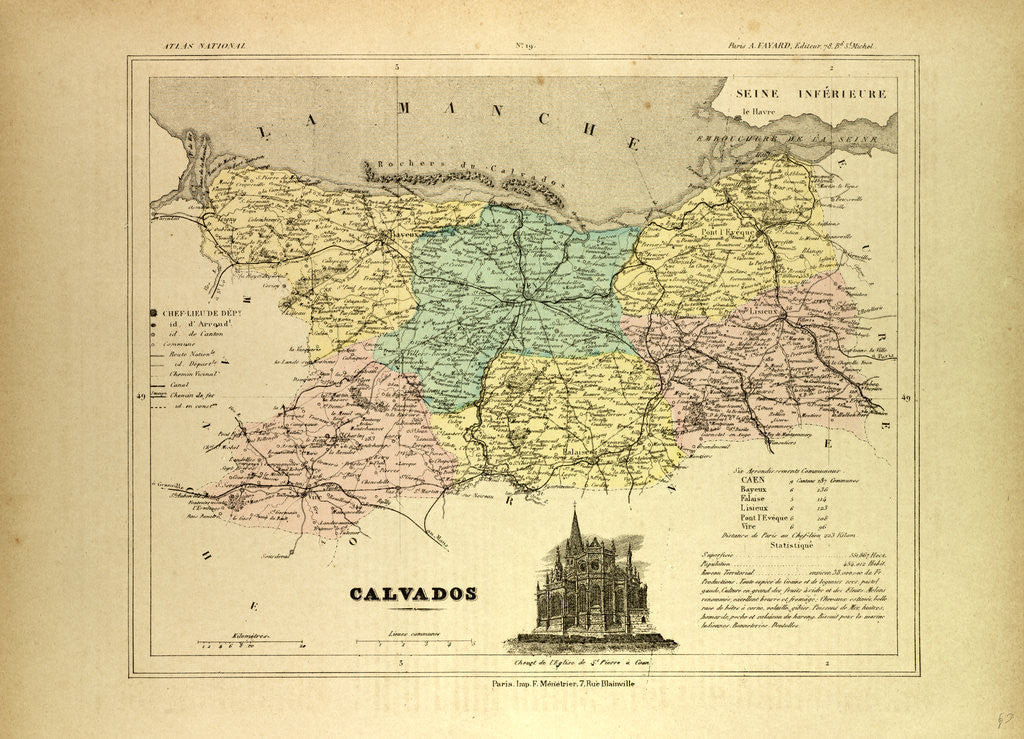 Calvados France Map.Map Of Calvados France Posters Prints By Anonymous