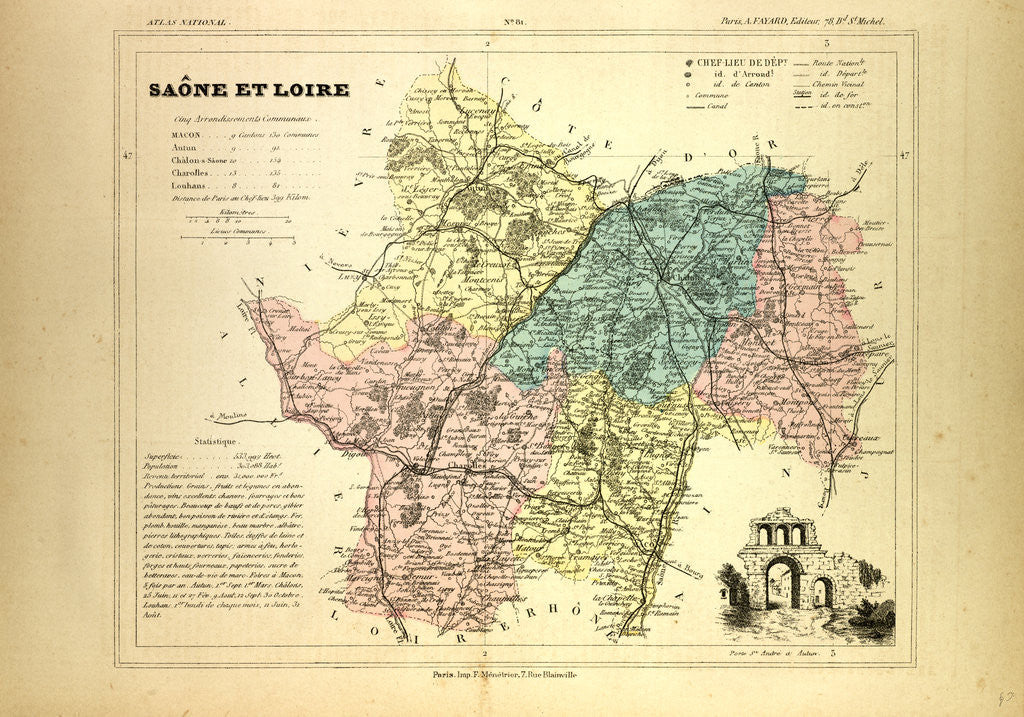 Macon France Map.Map Of Saone Et Loire France Posters Prints By Anonymous