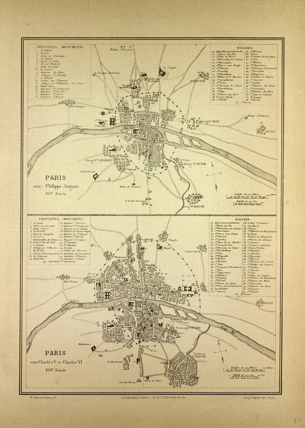 Map Of Paris In The 12th Century And In The 14th Century