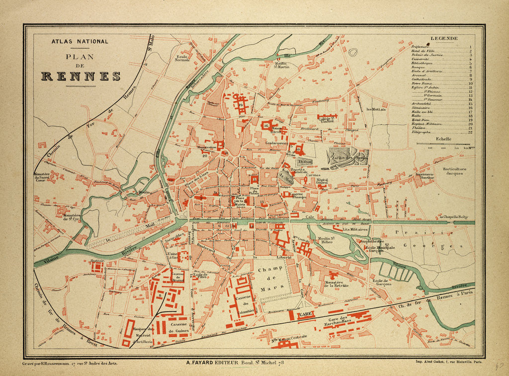 Map Of France Rennes.Map Of Rennes France Posters Prints By Anonymous