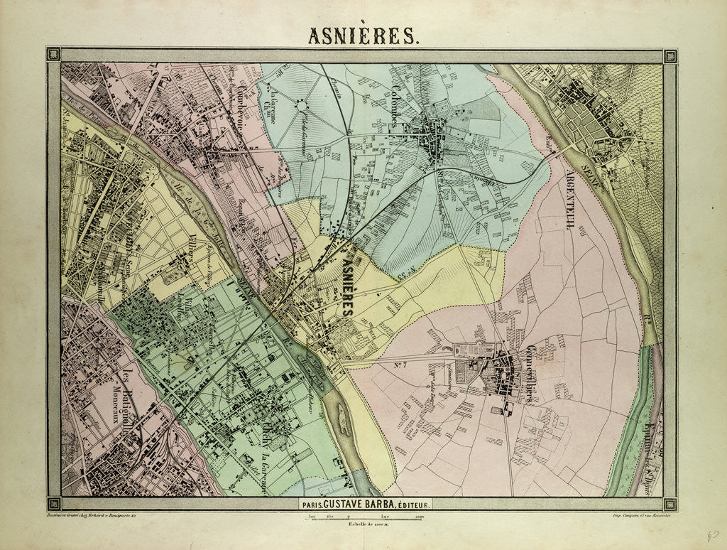 Map of Asnières France by Anonymous