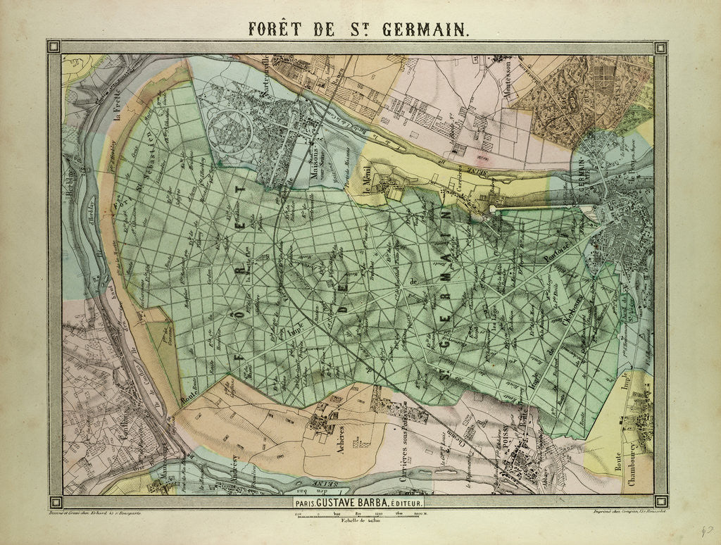 Detail of Map of the Forest of St. Germain France by Anonymous