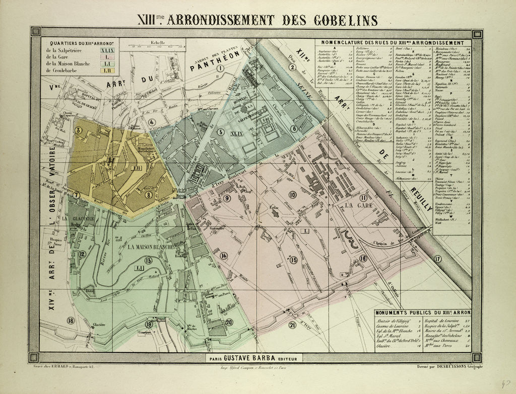 Detail of Map of the 13th Arrondissement Des Gobelins Paris France by Anonymous