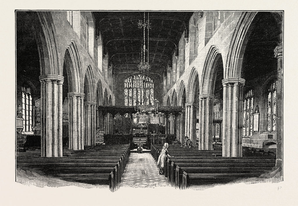 Detail of Gresford: The Nave by Anonymous