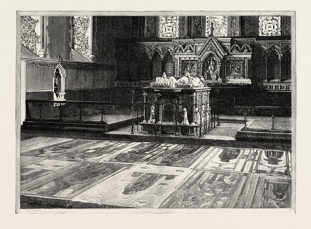 Detail of Cobham: The Chancel, with Altar-Tomb and Brasses by Anonymous