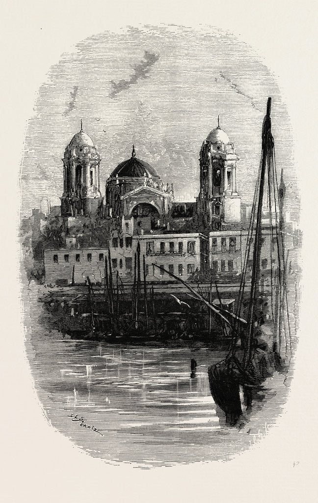 Detail of Cathedral of Cadiz, from the Harbour, Spain by Anonymous
