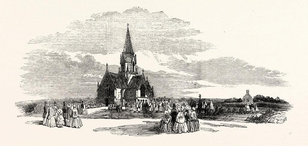 Detail of Consecration of the St. Pancras and Islington Extramural Cemetery Finchley Road Procession to the Episcopal Chapel 1854 UK by Anonymous