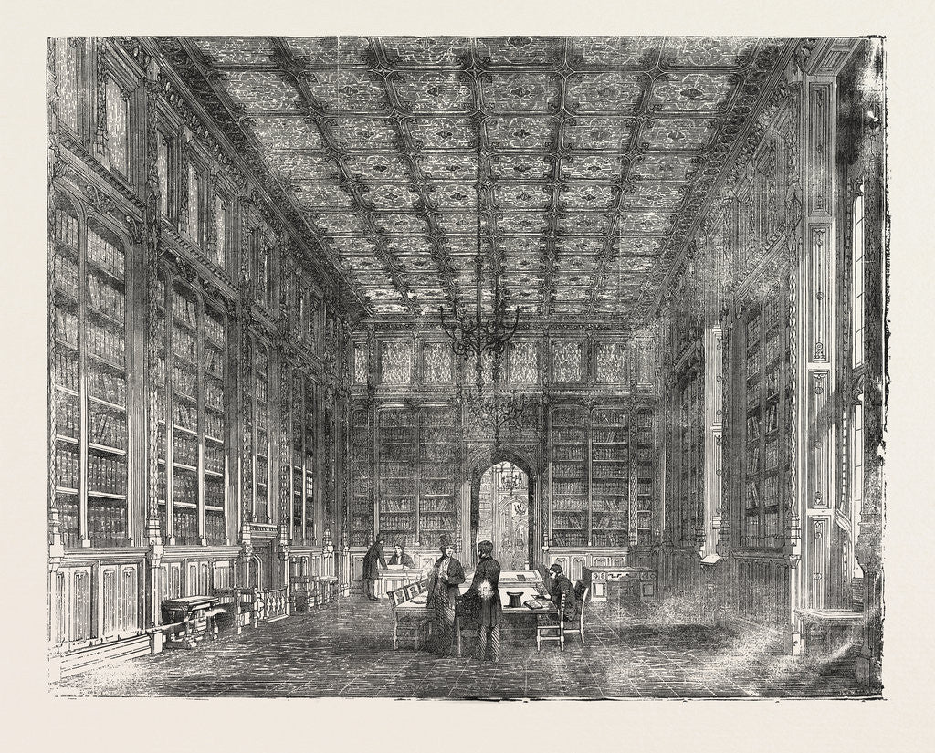 Detail of The New Houses of Parliament: Library of the House of Commons UK 1854 London by Anonymous