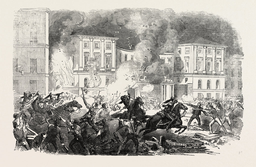 Detail of The Insurrection in Spain: The Insurgents Setting Fire to the Palace of Queen Christina at Madrid 1854 by Anonymous