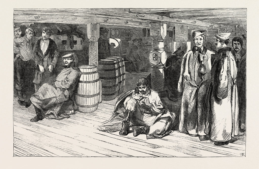 Detail of Russian Prisoners at Sheerness: The Devonshire. Russian Prisoners Between Decks 1854 by Anonymous