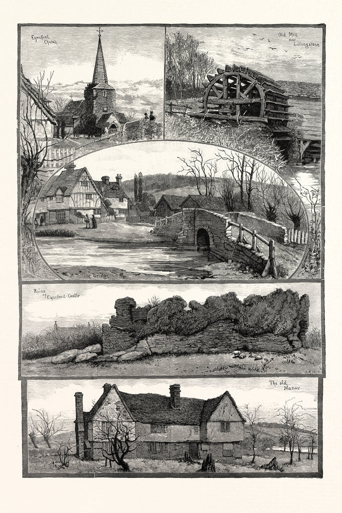 Detail of Eynsford, Kent, UK, 1887. Eynsford Church, Old Mill Near Lullingstone, the Bridge, Ruins of Eynsford Castle, the Old Manor by Anonymous