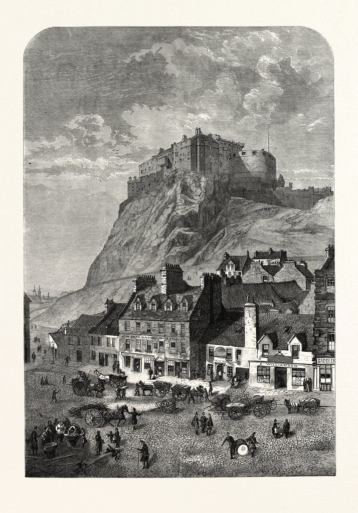 Detail of Edinburgh Castle, from the Corner Exchange, in the Grassmarket, UK, 1860 by Anonymous