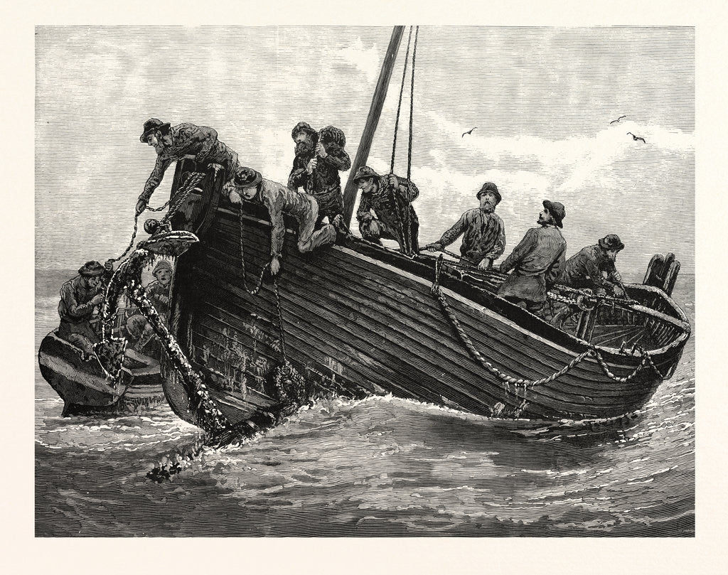 Detail of Fishing Up Lost Anchors, 1885 by Anonymous