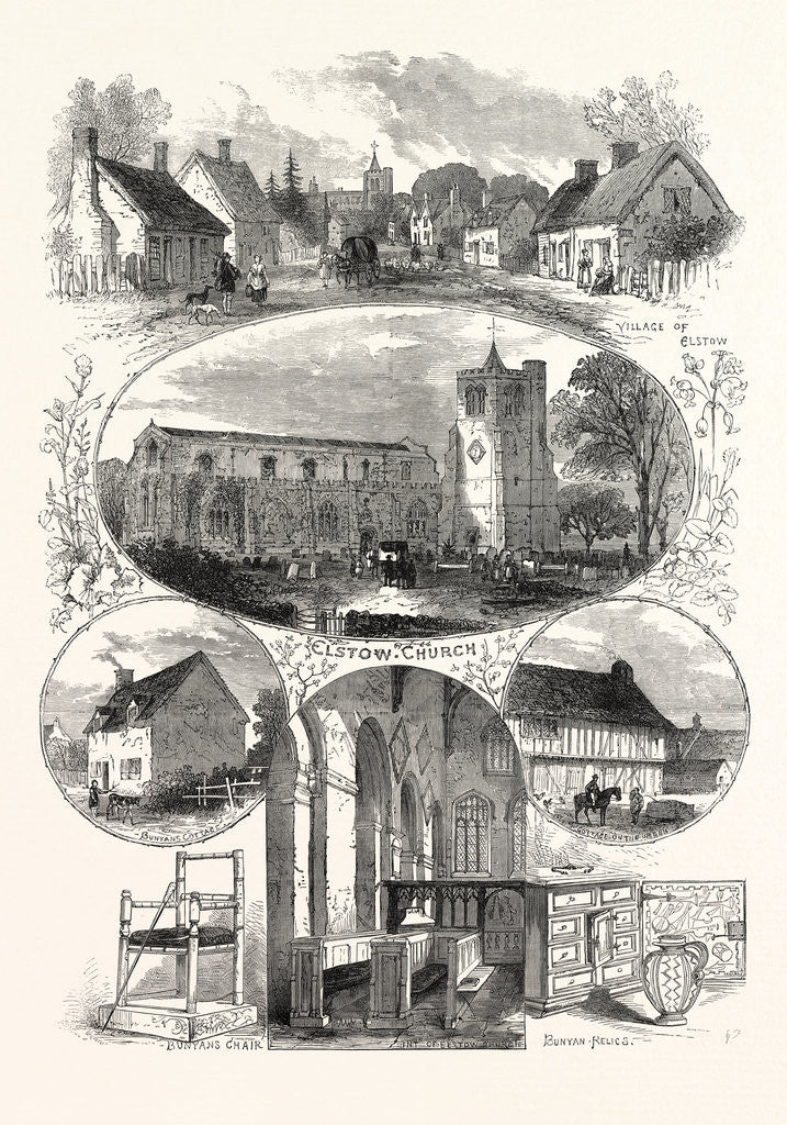 Detail of Elstow: Birthplace and Relics of John Bunyan, 1874 by Anonymous