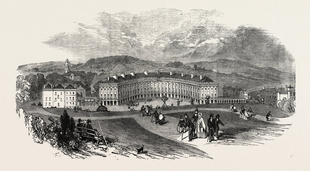 Detail of Buxton, the Crescent, New Baths, 1854 by Anonymous